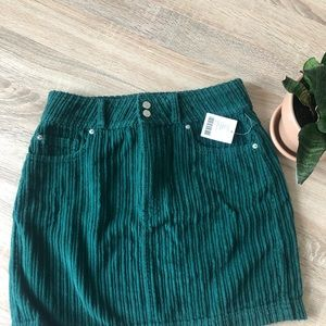 BDG Notched Green Corduroy Mini Skirt